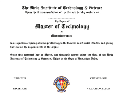 The Degree of Master of Technology in Microelectronics