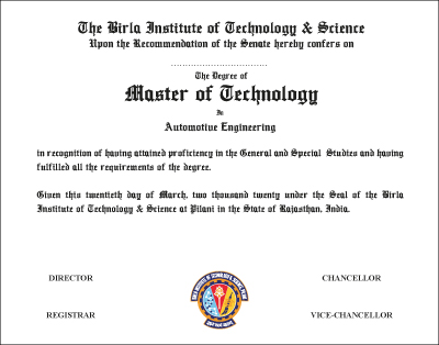 The Degree of Master of Technology in Automative Engineering
