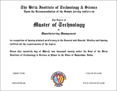 The Degree of Master of Technology in Manufacturing Management
