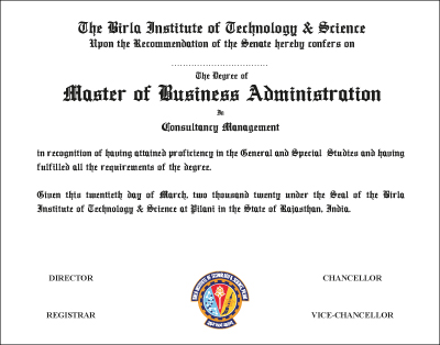 The Degree of Master of Business Administration in Consultancy Management