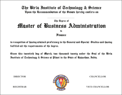 The Degree of Master of Business Administration in Finance