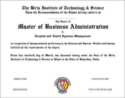 The Degree of Master of Business Administration in Hospital and Health Systems Management