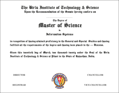 The Degree of Master of Science in Information Systems