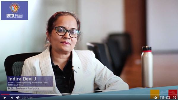 Indira Devi J,  speaks about her WILP experience