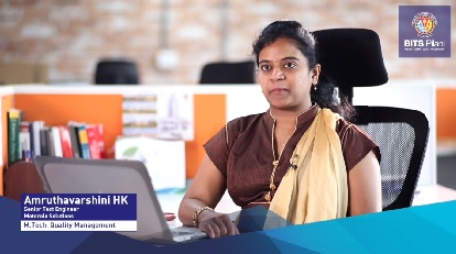 Amruthavarshini HK, alumnus of M.Tech. Quality Management speaks about her WILP experience